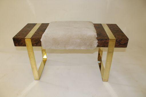 Custom Made Burl Bench With Brass Legs