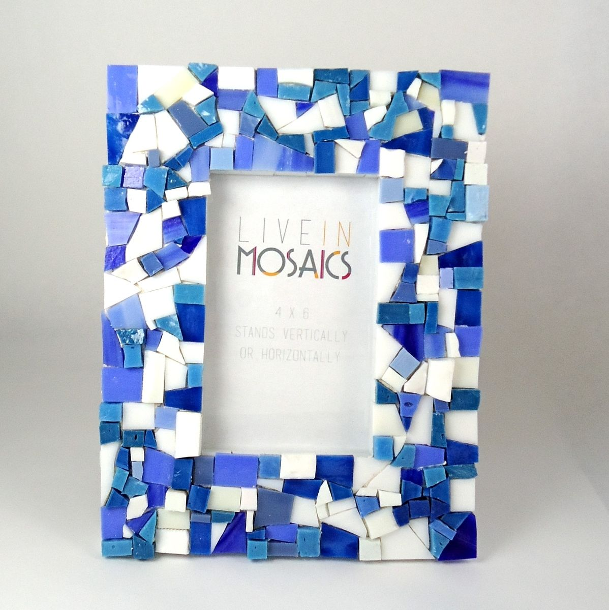Custom Made Blue Mosaic Picture Frame By Live In Mosaics