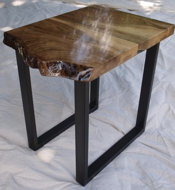 Custom Made Live Edge Walnut End Tables With Steel Base