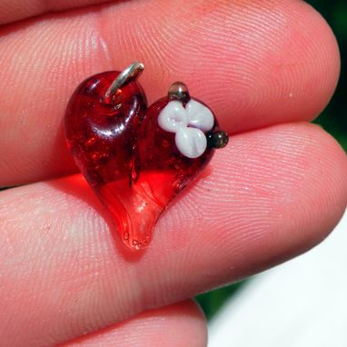 Custom Made Glass Heart Charm Flower, Lampwork Hand Blown Boro Charm, Heart Jewelry, Red Mini Tiny Baby Heart