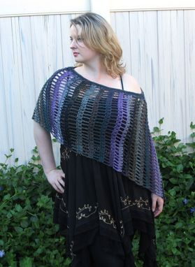 Custom Made Asymmetrical Poncho, Black Purple Teal Gray Olive, Crochet