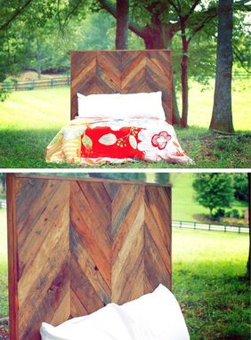 Custom Made Reclaimed Wood Chevron Headboard