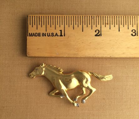 Custom Made Horse 18k Yellow Gold W/ Diamonds Brooch (Pendant)