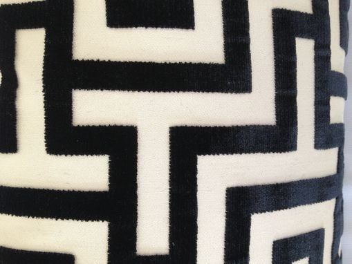Custom Made Black Silky Velvet With Geometric Pattern Pillow Cover