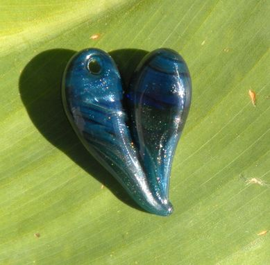 Custom Made Hand-Blown Glass Heart Pendant In Sparkling Blue And Green