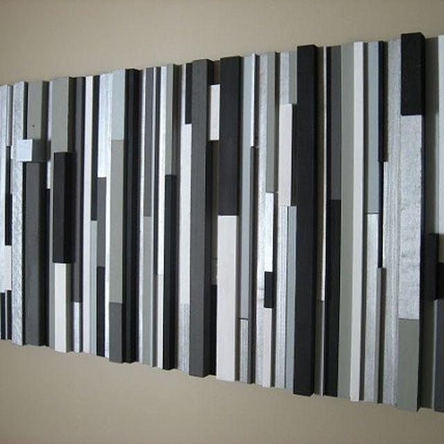 Custom modern wood wall art sculpture black white greys silver by modern rustic art llc custommade com