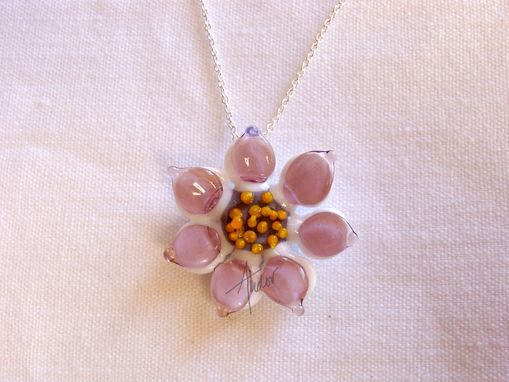 Custom Made Lampwork Glass Flower Pendants