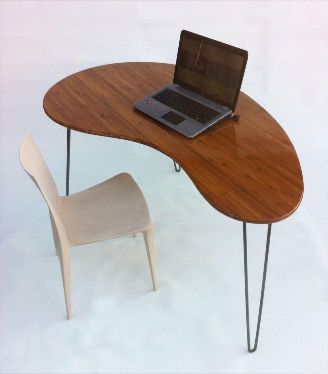 Custom Made Kidney Bean Shaped Modern Desk Atomic Era Boomerang Design In Caramelized Bamboo