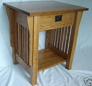 New Mission Style Solid Oak Wood Bedside Bedroom Living Room End Table Night Stand