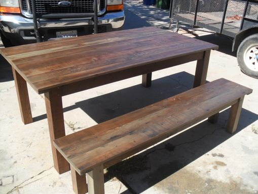 Custom Made Reclaimed Wood Dining Table And Bench Custom Made In The Usa From Reclaime Wood