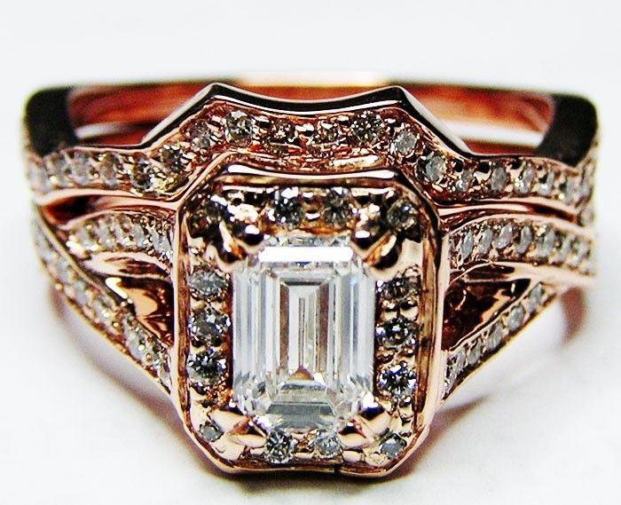 Hand Made Pink Gold Emerald Cut Diamond Twisted Band