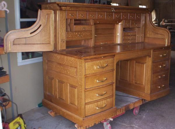 Hand Made Clark Model Quarter Sawn White Oak Roll Top Desk