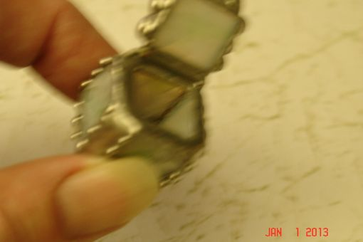 Custom Made Micro Mini Stained Glass Hindged Box In Textured White With Swirls Of Green 1/2 X 1/2 Glass Squares