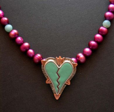 Custom Made Broken Heart Necklace Pendant- Enamel