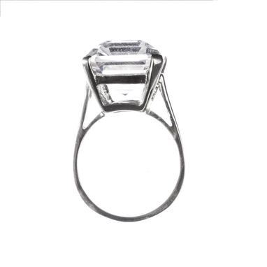Custom Made Sterling Emerald Cut Rock Crystal Cocktail Ring
