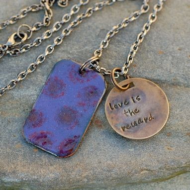 Custom Made Enamel Dog Tag Necklace Handstamped Brass Tag Pendant Enameled Jewelry Purple - Love Is The Reward