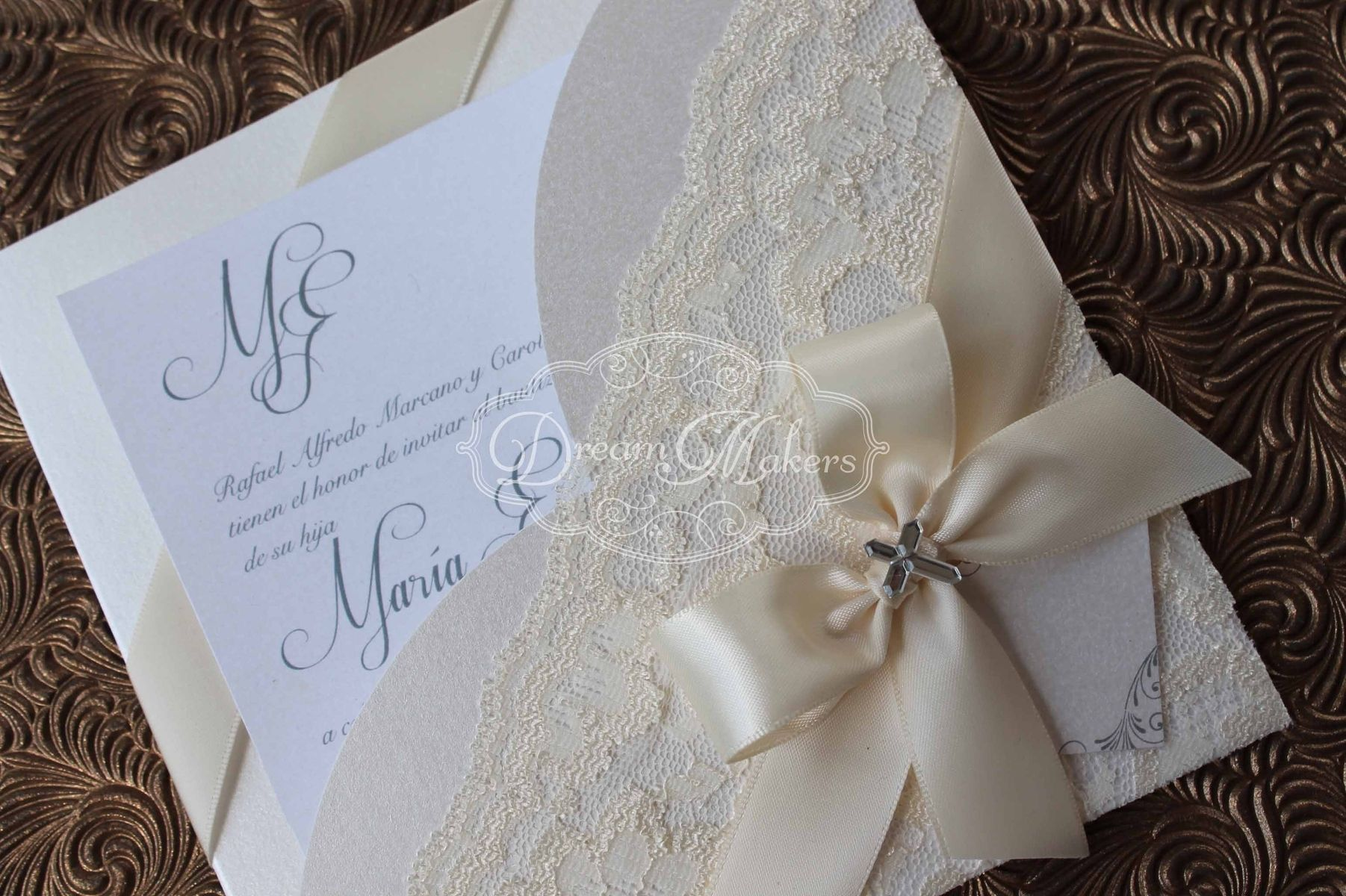Custom Made Lace Baptism Invitation Announcement