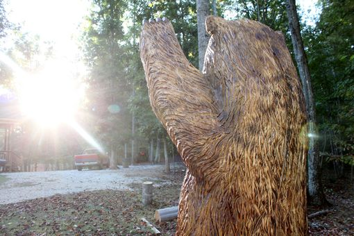 Custom Made 7-Foot Waving Brown Bear Chainsaw Wood Sculpture