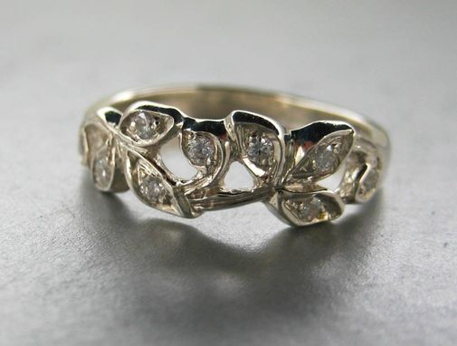 Custom Made Engagement Ring Or Anniversary Ring.14k White Gold Leaf Ring With Diamonds.