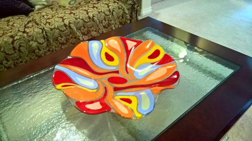 "Custom Made A Fused Glass Bowl ""Fancy Flower"""