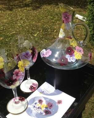 Custom Made Hand Painted Wine Glasses And Decanter Set