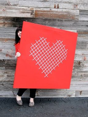 Custom Made Giant Heart Cross-Stitch