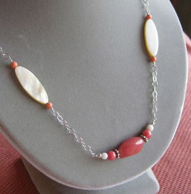 Custom Made Cherry Quartz And Mother Of Pearl Silver Long Necklace - Free Shipping