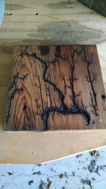 Custom Made Fire On The Water Swamp Art Lighting Strikes Captured On Wood!