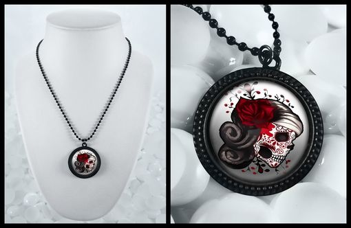 Custom Made Day Of The Dead Sugar Skull Black Punk Necklace 73-Jbrn
