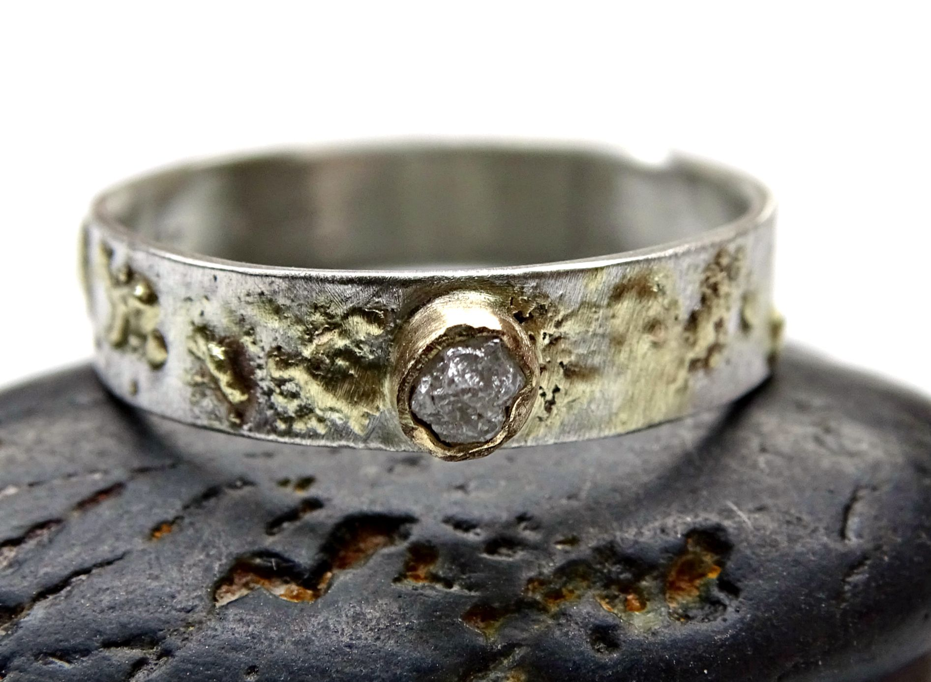 Custom Made Raw Stone Engagement Ring Diamond Rough Gold Viking Wedding
