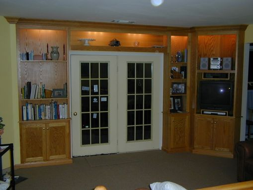 Custom Made Oak Bookcases And Entertainment Center