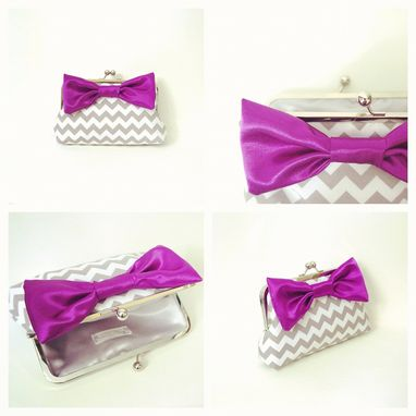 Custom Made Gray Printed Clutch Purse With Big Purple Bow