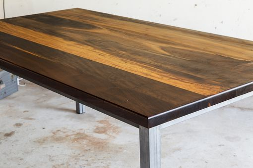 Buy Hand Crafted Modern Brazilian Imbuia Dining Table With Raw Steel Base Made To Order From The Gudde Company Custommade Com
