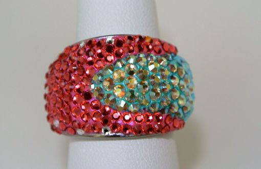 Custom Made Miami Beach Crystal Pink And Chrysolite Ab Dome Silver Ring - Made With Swarovski Elements