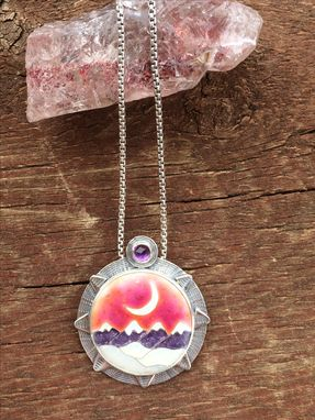 Custom Made Cloisonne Enamel Mountain Necklace