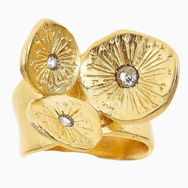 Custom Made Yellow Metal Bronze Silver Dandelion Cluster Ring