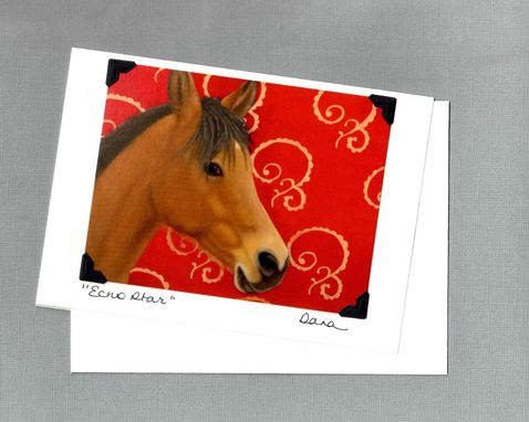 Custom Made Horse Art Card - Bay Arab On Bright Red With Copper Scroll Background - Horse Art Print Postcard