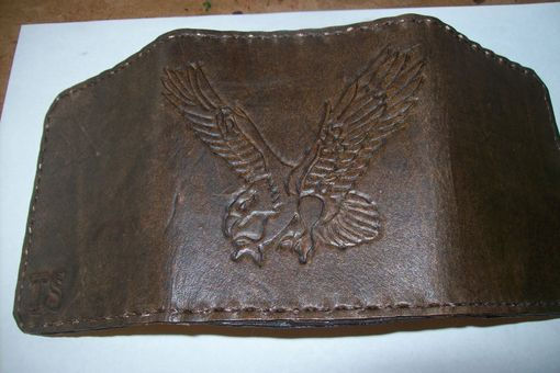 Custom Made Custom Leather Imperial Trifold Wallet With Preying Eagle Design