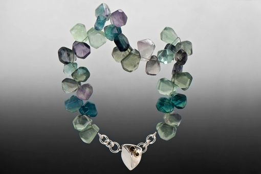 Custom Made Fluorite Statement Necklace With Hollow Formed One-Of-A-Kind Clasp