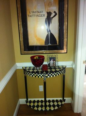Custom Made Hand Painted Half Moon/Crescent Table
