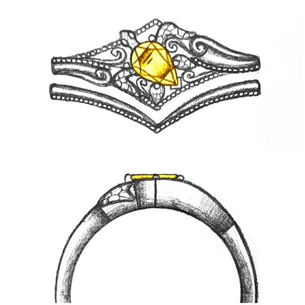 Design sketch for a bridal set with a turtle setting for a bright pear cut center stone.