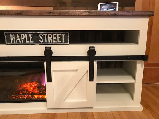 Custom Made Barn Door Fireplace Console