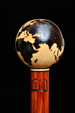 Custom Made Wood Burned Globe Walking Stick In Maple, Ebony, And Redheart Wood - Walking Cane