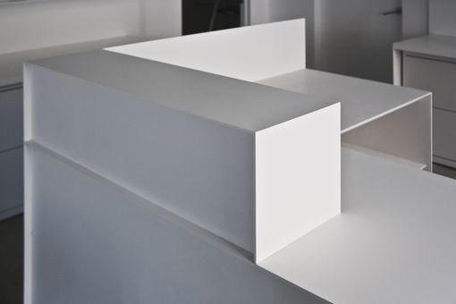 Custom Made Minimal White Powder-Coated Steel Desks And Conference Table