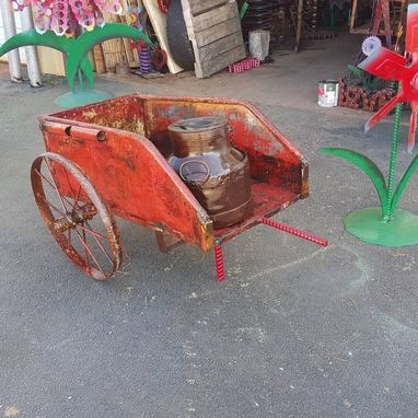 Custom Made Vintage Metal Old Flower Cart By Raymond Guest