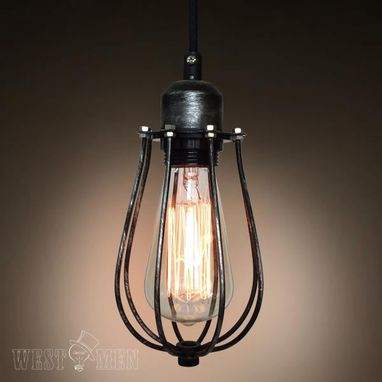 Custom Made Westmenlights Industrial Iron Cage Pendant Ceiling Light Art Deco Mini Lamp