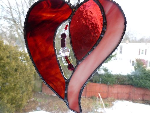 Custom Made Pink And Red Stained Glass Heart With Beads And Crystals