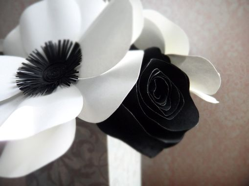Custom Made Black And White Anemones And Roses Paper Flower Bouquet - Box Vase