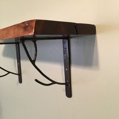 Custom Made Live Edge Shelf With Steel Brackets