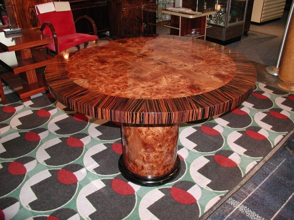 Hand Crafted Carpathian Elm Burl With Ebony Round Dining Game